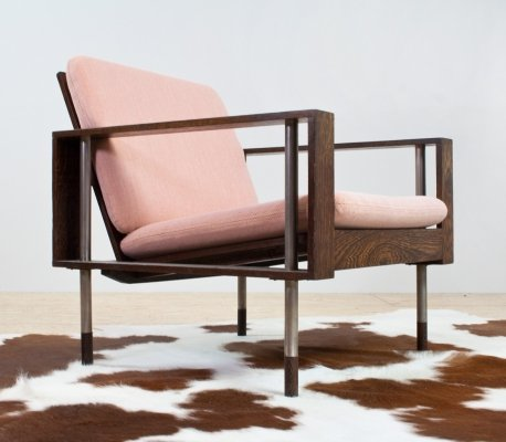 Wenge & metal armchair by Fristho, Netherlands 1970s