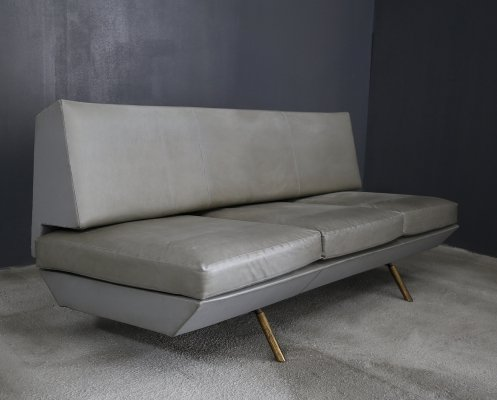 Extendable brass & leather sofa by Marco Zanuso, 1950s