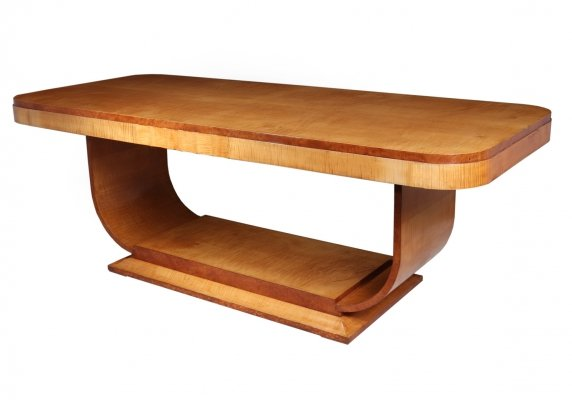 Art Deco Sycamore Dining Table by Epstein, 1930s