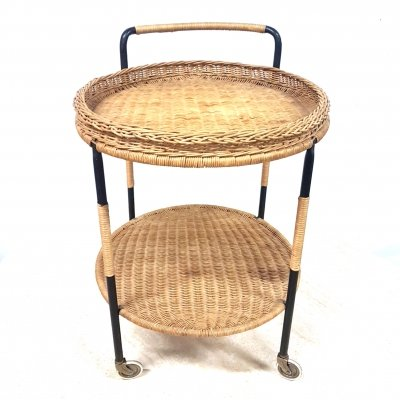 Mid century rattan serving trolley, 1950s