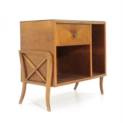 Italian mid-century cabinet with black glass top, 1950s