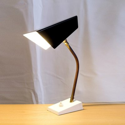 Black & Brass Mid Century Desk Lamp, 1950s
