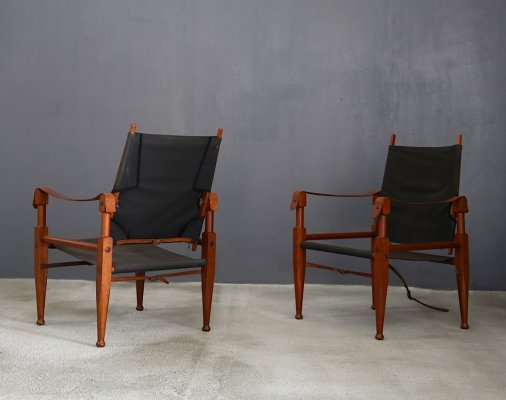 Pair of Vintage Safari Chairs by Kaare Klint for Rud. Rasmussen