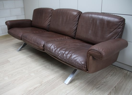 Brown leather 'DS 31' 3-seater sofa by De Sede, Switserland 1970's