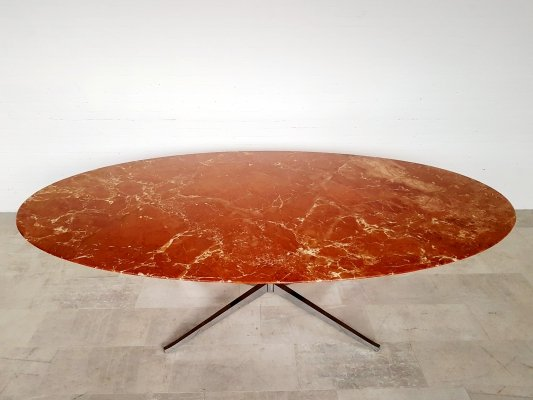 Red marble dining table by Florence Knoll, 1960s
