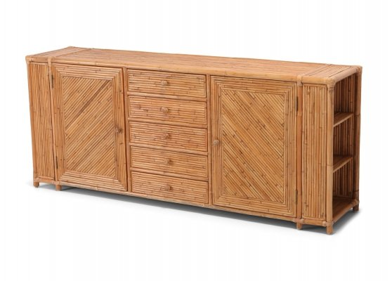 Mid-Century Modern bamboo sideboard in tropicalist style, 1970s