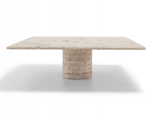 Mangiarotti Square Travertine Coffee table for Up & Up, 1970s