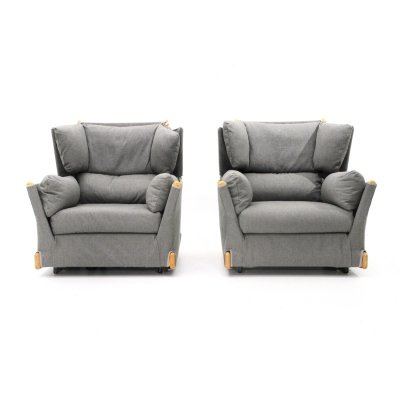 Pair of Gray 'Viola d'amore' armchairs by Piero de Martini for Cassina, 1970s