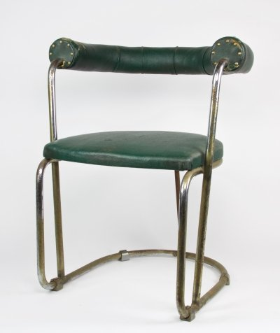 Chromed tubular steel chair by Bas van Pelt with green skai upholstery, 1930s