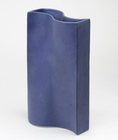 Undulating blue glazed vase by Jan van der Vaart, 1999