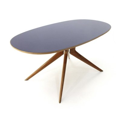 Blue glass oval top dining table, 1950s