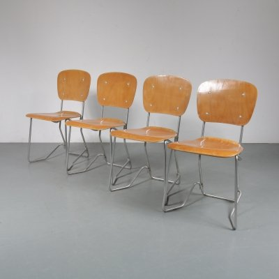 Set of 4 'Aluflex' chairs by Armin Wirth for Hans Zollinger, Switzerland 1950s