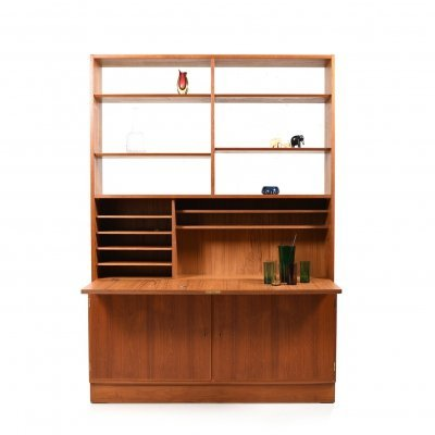 1960s Danish Teak Bookshelf / Writing Cabinet by Poul Hundevad