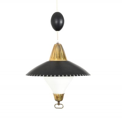 Danish pendant lamp with black shade, 1950s