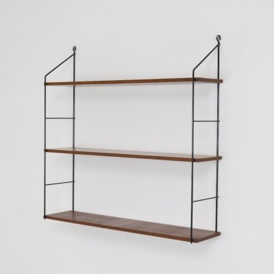 Minimalist Dutch wall unit in solid teak, 1950s