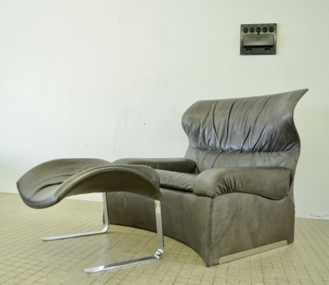 Vintage design 'Vela Alta' lounge chair + ottoman by G. Offredi for Saporiti, 1970s