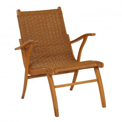 Mid-century Armchair With Rope by Vroom & Dreesman, 1950s