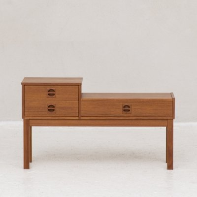 Mid-century telephone cabinet in teak with 3 drawers, Denmark 1960s