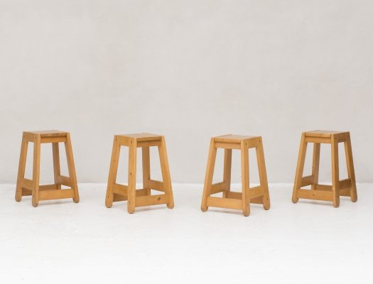 Set of 4 sturdy bar stools in pine, 1960s