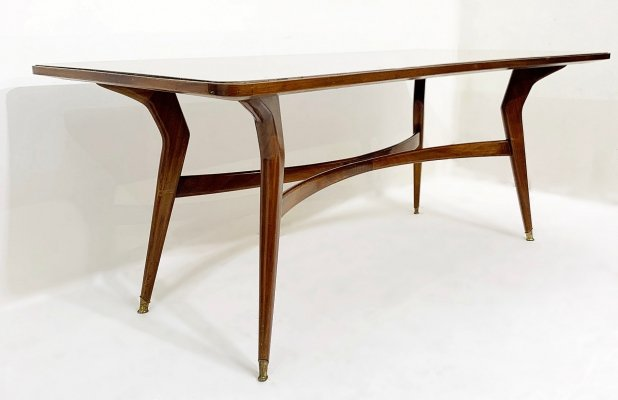 Italian Dining Table With Glass Top, 1960s
