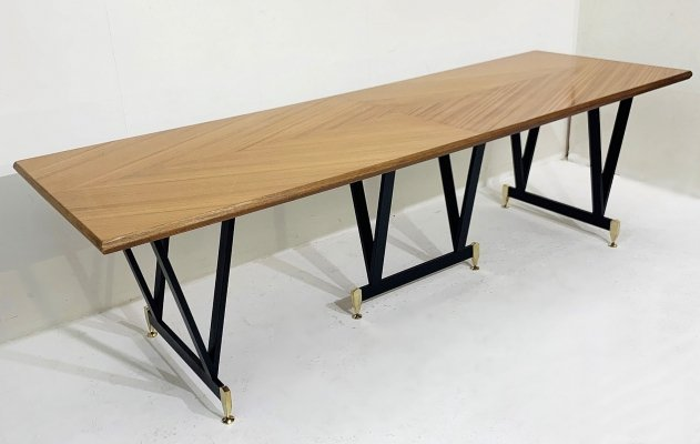 Extra Long Dining Table with Walnut Top