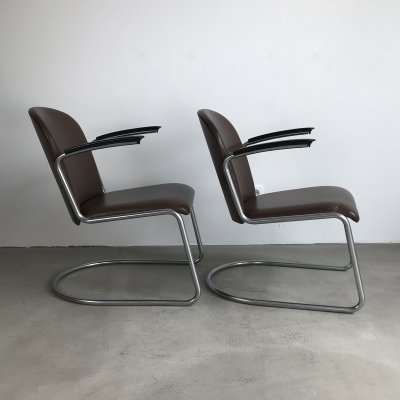 Set of 2 Leather Gispen 'Model 413' Lounge Chairs, 1950s