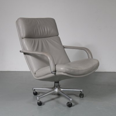 Grey leather lounge chair by Geoffrey Harcourt for Artifort, 1970s
