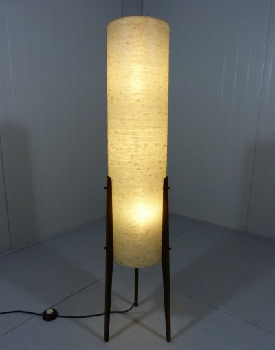 Rocket Floor Lamp in Teak & Fiberglass, 1950's