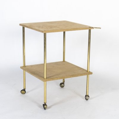 T9 Brass & Velvet Side Table by Luigi Caccia Dominioni for Azucena, 1970s