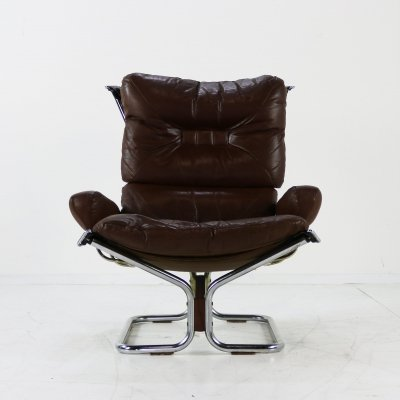 Brown leather sling chair by Ingmar Relling for Westnova Norway, 1970s