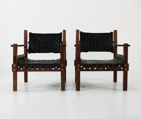 Two armchairs with leather webbing, 1970s