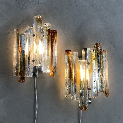 Set of Two Mid-Century Murano Wall Lamps by Poliarte, Italy 1970s