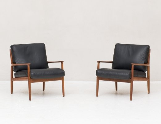 Set easy chairs in teak & leather by Grete Jalk for Glostrup Denmark, 1960