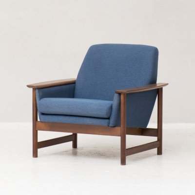 Easy chair in teak & blue fabric, the Netherlands 1960s