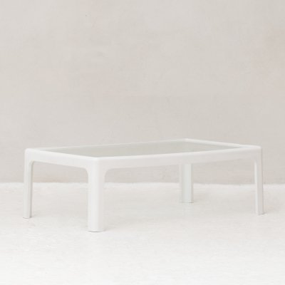 Coffee table with white plastic frame & glass top