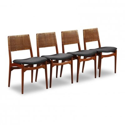 Set of 4 Vintage Danish design teak/rattan dining chairs