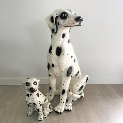 Vintage painted terracotta dalmatian dog, 1960s