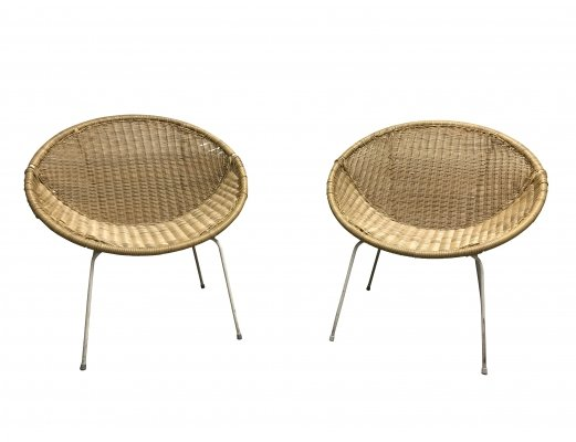 Pair of vintage rattan chairs, 1970s