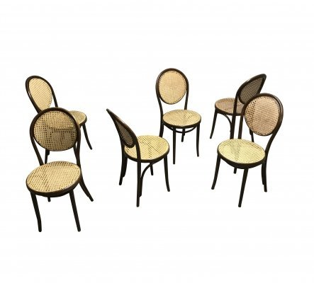 Set of 6 Thonet Dining Chairs by ZPM Radomsko , 1950s