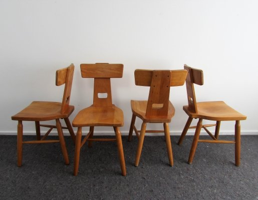 Set of 4 Dutch Brutalist Oak Dining Chairs by Oirschotse Meubelmakerij, 1970's