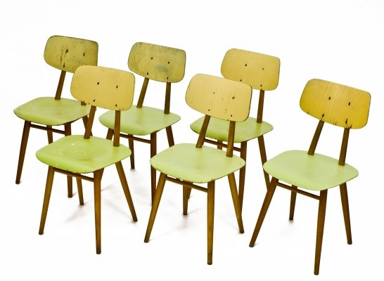 Set of 6 Ton Czechoslovakia dining chairs, 1960s