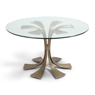 Hollywood Regency Hammered Brass Dining Table by Luciano Frigerio, 1980s