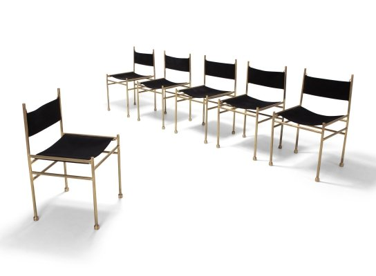 Brass & Black Velvet Dining Chairs by Luciano Frigerio, 1980s