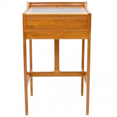 Dyrlund Stand-Up Desk in Teak & Leather, Denmark 1960s
