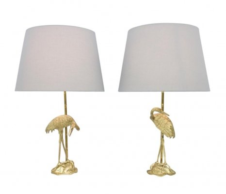 Pair of Crane Brass Table Lamps, France 1970s