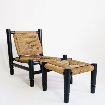 Low chair & footrest in wood & rope, France 1950s