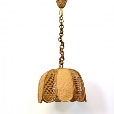 Italian wood & wicker pendant