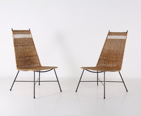 Pair of rattan occasionnal chairs, 1950's