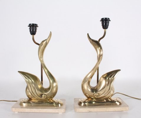 Pair of hollywood regency brass duck table lamps