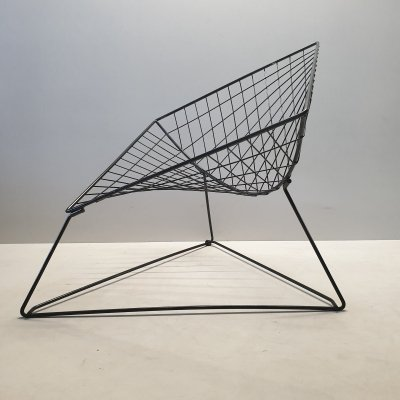 Vintage industrial 'Oti' wire lounge chair by Niels Gammelgaard for IKEA